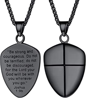 Shield of Faith/Inspirational Pendant Chain 22 Inch Joshua 1:9 Cross Amulet Necklace, Text Engrave Customizable, 3 Color Options