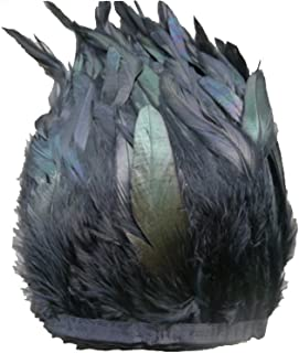 AWAYTR Rooster Hackle Feather Fringe Trim 5-7 Inches Width Sewing Crafts (2 Yards)