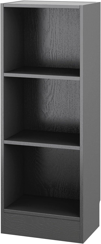 Tvilum 7177461 Element Narrow 3 Shelf Bookcase, Short, Black Wood Grain