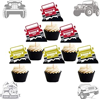 JeVenis 24 PCS Jeep Car Cake Decoration Jeep Cupcake Toppers Car Vehicle Birthday Party Decoration Car Cake Topper for Boy...