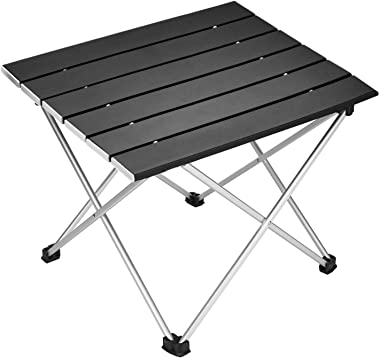 Portable Camping Table,Aluminum Folding Table Ultralight Camp Table with Carry Bag Collapsible Table Top for Picnic,Cooking,C