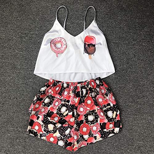 Conjunto Pijama Mujer,2 Piezas para Mujer Ropa De Dormir Sin Mangas De Seda Suave Dibujos Animados Lindos Donuts Estampado Camisola Pantalones Cortos Sexy Conjunto De Lencería Casual Homewear Traje