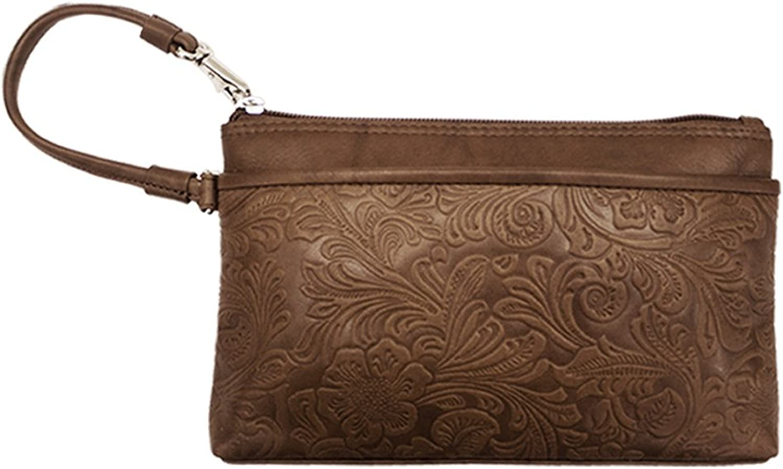 Ili New York 6577 Embossed Leather Wristlet Handbag with RFID Blocking Lining
