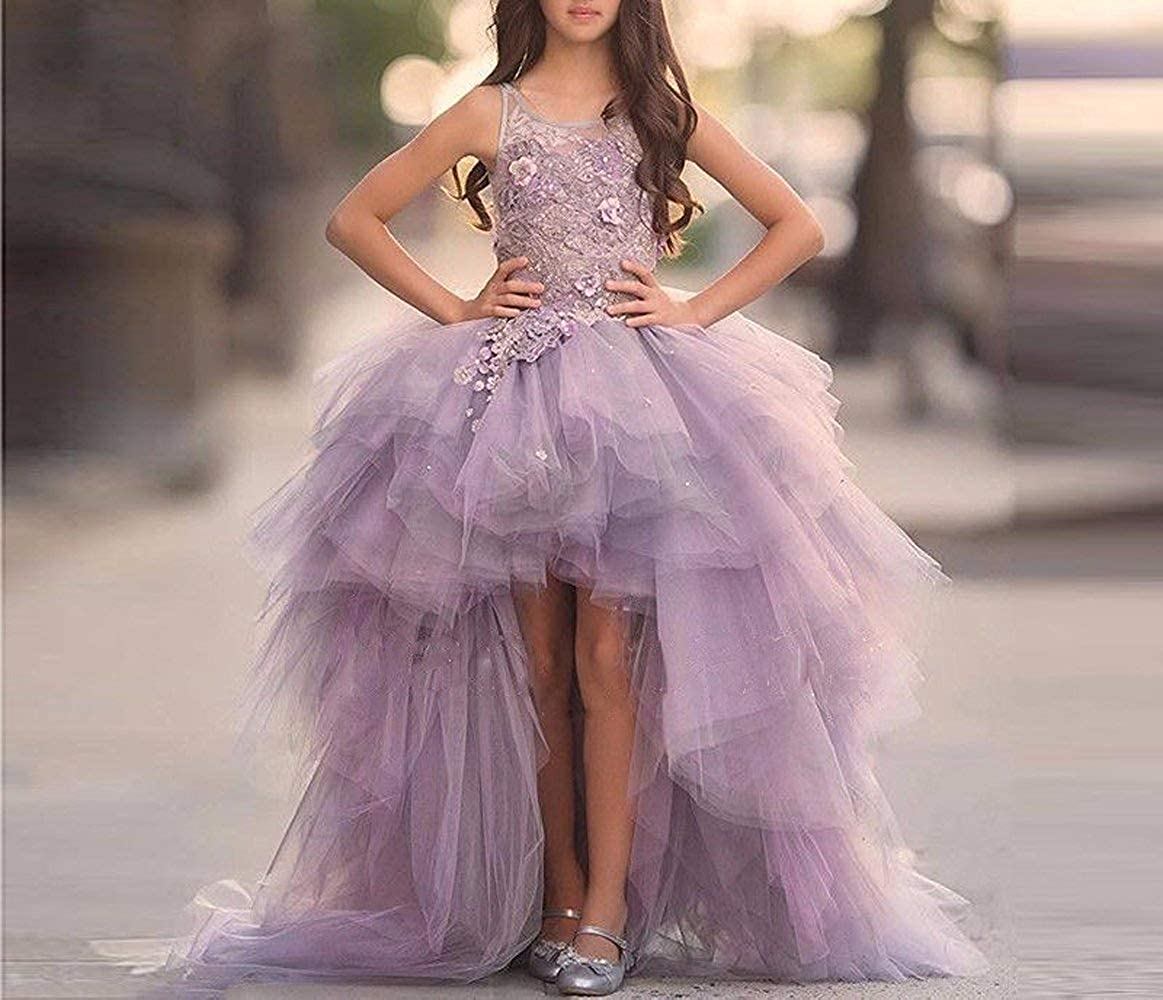 Adela Richer Girls' Adela Lace High Neck Pageant Dresses Ball Gown Hi-Low Applique