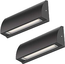 ledscom.de LED-wandlamp Segin trapverlichting voor binnen en buiten, vlak, opbouw, zwart, warmwit, 400lm, 2 stuks.