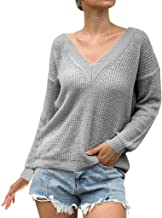 Aunimeifly Women V-Neck Sweater Solid Color Shirts Ladies Knitting Stylish Blouse Casual Long Sleeve Tops