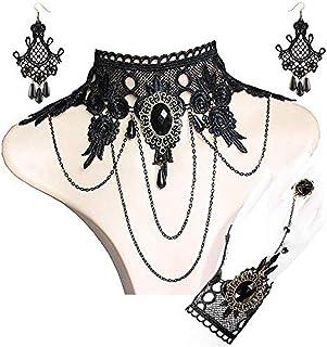 Xileg Womens Pendant Necklace Black Lace Choker Tattoo Necklace Gothic Punk Velvet Long Pendant Women Collar Jewelry Chocker Necklaces