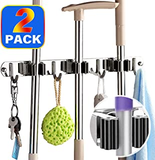 Cursanjo 2 Pack Broom Mop Holder Wall Mount, Heavy Duty Wall Mount Stainless Steel Wall Mounted Storage Organizer Tools Hanger with 3 Racks 4 Hooks for Bathroom Kitchen Office Closet Garden
