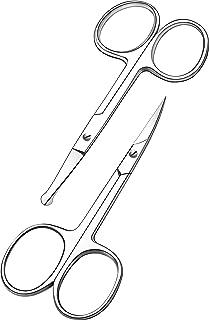 قیچی موی صورت خمیده و گرد شده برای آقایان - سبیل ، قیچی مویی و ریش بینی ، استفاده ایمنی برای ابرو ، مژگان و موهای گوش - فولاد ضد زنگ حرفه ای - توسط Utopia Care