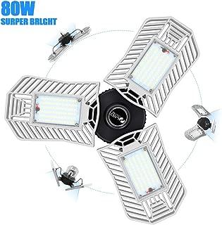 8000 lumens LED Garage Lights, 80W LED Garage Lighting for Garage and Workshop 6000K Daylight Deformable LED Garage Lights