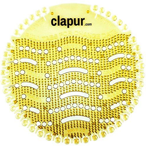 clapur Urinalsieb (2 Stk.) mit Austausch-Indikator und Spritzschutz, für jedes Pissoir und Urinal, rund (2x Citrus)