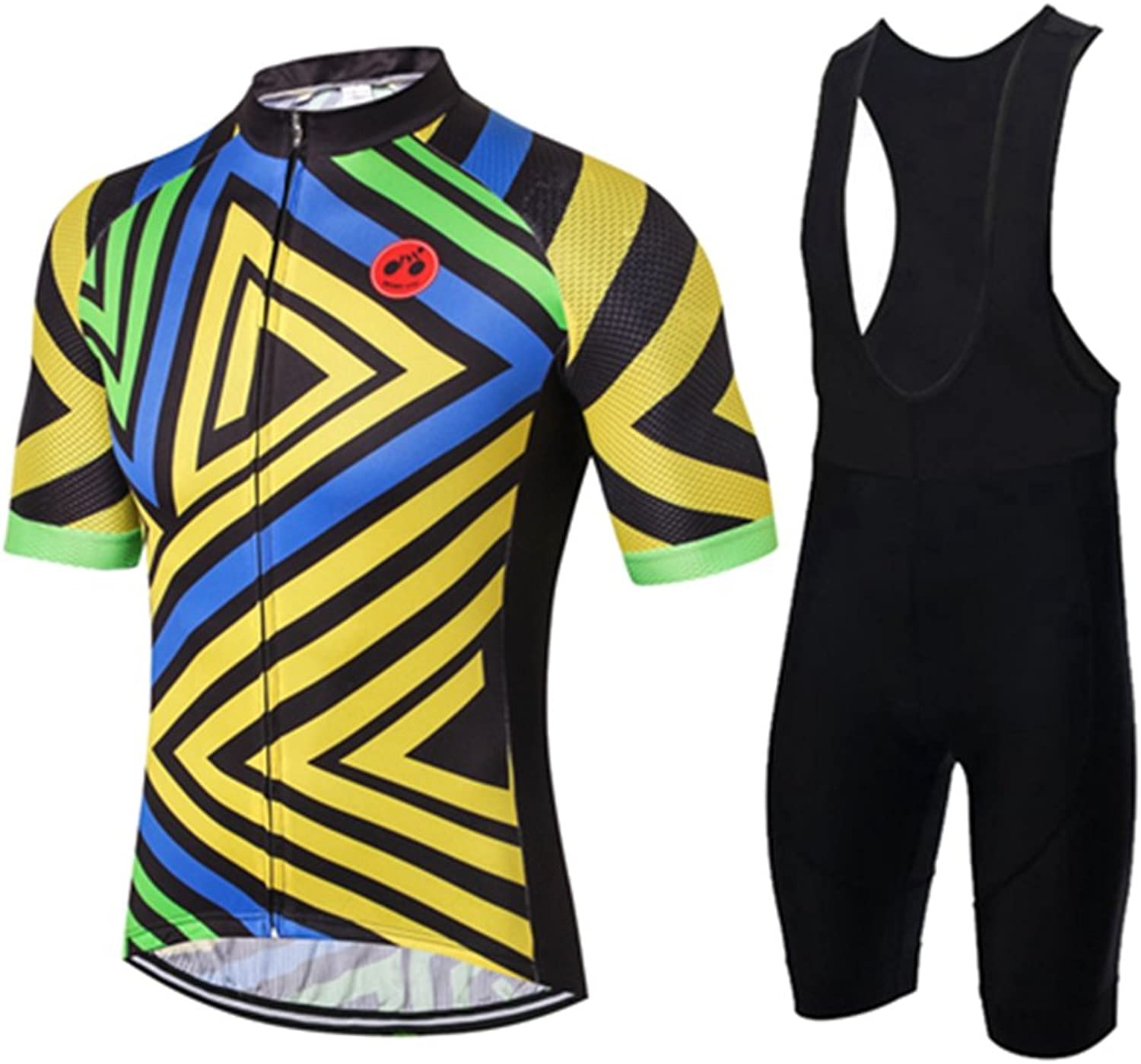 Shenshan Men's Short Sleeve Cycling Jersey 3D Padded Bib Short Sets