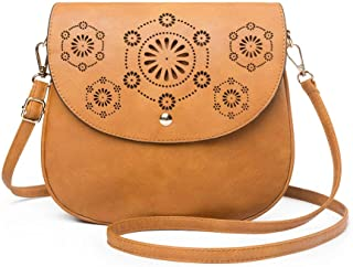 ATUPEIY Double Compartment Flapover Crossbody Bags for Women Vintage Leather Bag Shoulder Bag Purse