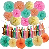 LyButty 45 Pcs Party Supplies Decorations Kit,Tissue Paper Pom Poms Flower Tissue Paper Fan Polka Dot Paper...