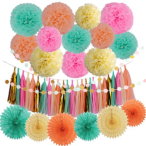 LyButty 45 Pcs Party Supplies Decorations Kit,Tissue Paper Pom Poms Flower Tissue Paper Fan Polka Dot Paper Garland Tissue Tassel Garland for Wedding,Party,Baby Shower, Room Decor