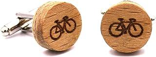 Gemelli in legno Bike. Collezione moda uomo: bottoni di camicia in faggio fatti a mano. Matrimonio e cerimonie. Motivo bic...