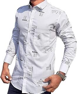 Casual Shirts for Men by S.N. | Mens Cotton Shirts | Full Sleeves Shirt | Printed Shirt | White Colour Look Shirt | Slim fit Shirts