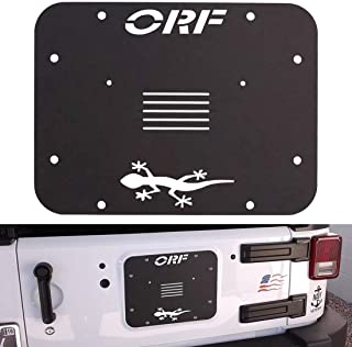 Black Spare Tire Carrier Delete Filler Plate Tailgate Vent Cover for 2007-2018 Jeep Wrangler JK JKU (1 Pcs, with ORF Letters)