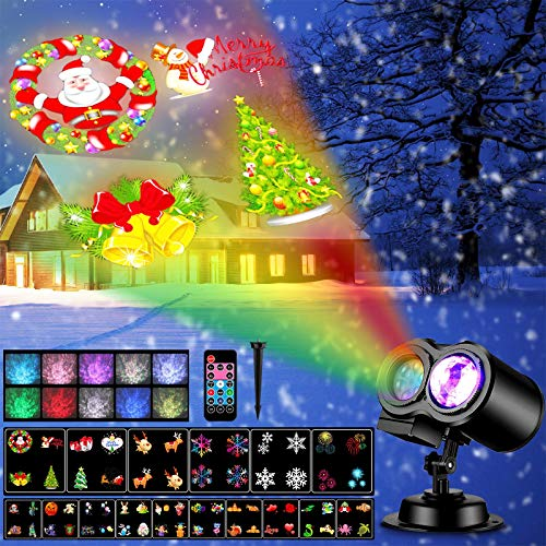 Christmas Projector Lights, Remote Control 2-in-1 Moving Patterns with Ocean Wave LED Landscape Lights Waterproof Outdoor Indoor Xmas Theme Party Yard Garden Decorations 16 Slides 10 Color