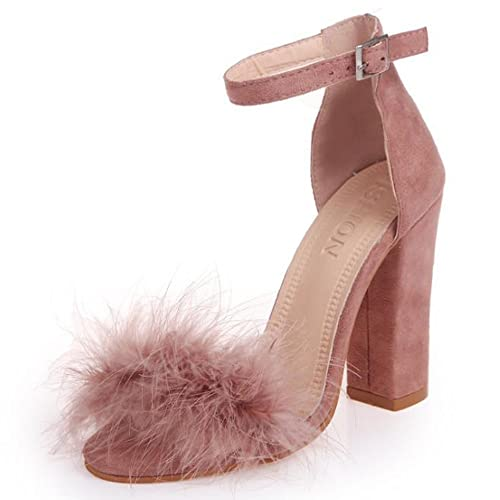 7a35fb1d1c0 YING LAN Women Fluffy Faux Fur Ankle Strap Open Toe Stiletto Party Dress High  Heel Shoes