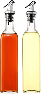 GulfDealz Glass Oil Bottle and Vinegar Pouring Dispenser, Condiment Set, Cruet, Seasoning for Dining Table and Kitchen, Ai...