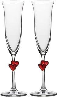 comprar comparacion Copas para vino espumoso L´Amour de Stölzle Lausitz con corazones rojos, de 175 ml, juego de 2, aptas para lavavajillas: R...