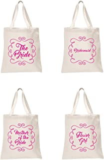 4 x Sets Natural Bridal Pink Printed Wedding Favour Tote Bags bride hen party gift sets The Bride, Bridesmaid, Brides Mother & Flower Girl