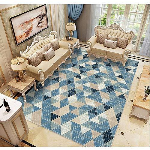 habitación alfombras de habitacion juvenil La decoración moderna del dormitorio de la sala de estar de la alfombra geométrica azul no se deforma alfombra infantil grande 160X230CM 5ft 3'X7ft 6.6'