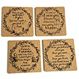Classic Winnie The Pooh Drinks Coasters - 4'x 4x 0.19' Cork Backing Set of 4 - Great Winnie The Pooh Gift