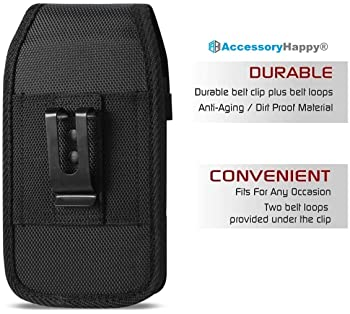 AH Military Grade Cell Phone Clip Holster Rugged Nylon Belt Pouch for Android Moto LG [iPhone 6 6S 7 8 X XR XS 11 12]...