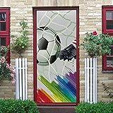 YMXRZDM Adhesivo Puerta 3D fútbol americano Etiqueta de la Puerta Autoadhesivo PVC Murales Carteles Pegatinas de Pared DIY Decoraciones para Sala Dormitorio 77 x 200 cm