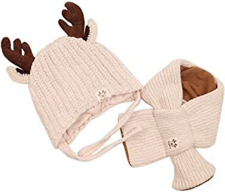 BroadRoot 2pcs Baby Knitted Hat Scarf Winter Warm Cute Antlers Neck Warmer Cap Suit