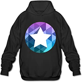 Men's Circular Logo With Star Polygonal Art Design Hoodie Black