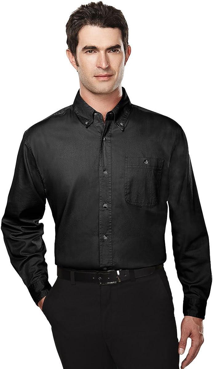 Tri-Mountain Big and Tall 6 oz. Cotton Long Sleeve Twill Shirt Black