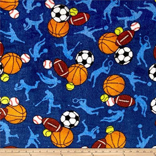 Whisper Plush Fleece All Sports Dark Blue, Fabric by the Yard