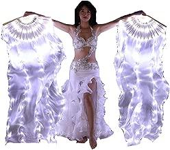 BELLYANGEL Primer Upgrade 70.8×35.4 in 100% Real Silk Belly Dance Fans Veils Led Dance Fans Belly Dance Prop Stage Activities Tools