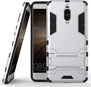 Case for Huawei Mate 9 Pro (5.5 inch) 2 in 1 Shockproof with Kickstand Feature Hybrid Dual Layer Armor Defender Protective Cover (Silver)