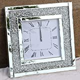 Crystal Sparkle Twinkle Bling Square Crush Diamond Mirrored Large Wall Clock for Wall Decoration Silver Mirror Home Décor. AA Battery is not Included.