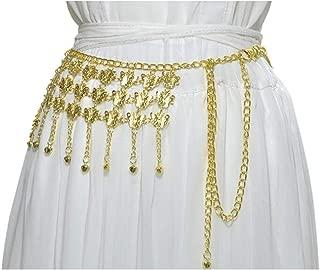 Ladies Metal Belly Dance Waist Chain Wild Dance Waist Chain Body Chain (Color : Silver, Size : 125cm)