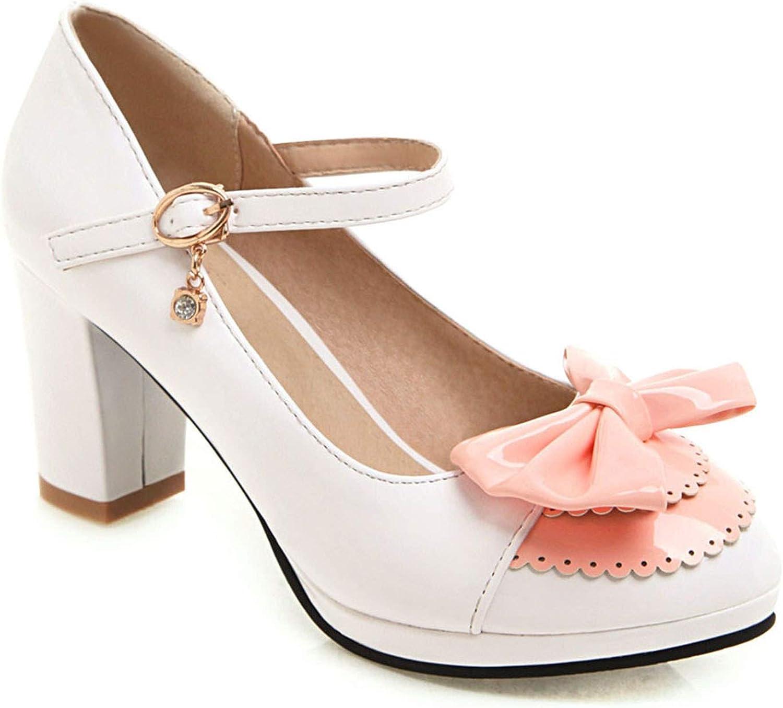 FINDYOU Women High Heels shoes Round Toe Bow Tie Platform Pumps Solid color Basic Pumps Ankle Strap High Heel shoes