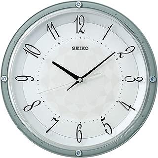 セイコークロック 掛け時計 薄青 直径33.0×5.0cm 電波 アナログ スワロフスキークリスタル KX257L