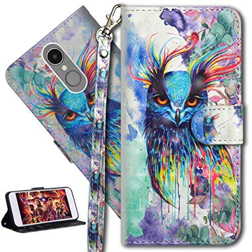 HMTECH LG K8 2017 Hülle 3D Süßes Bunte Owl Flip Standfunktion Karten Slot Magnetverschluß Brieftasche Taschen Schalen Handy Ledercase für LG K8 2017,Colorful Owl