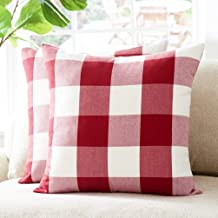 Foindtower Decorative Classic Buffalo Throw Pillow Covers Cotton Neutral Check Plaid Gingham Cushion Cover Casual Rustic F...
