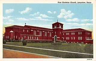 Longview Texas First Christian Church Street View Antique Postcard K103170