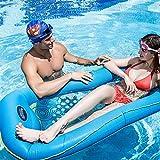 DJYD Agua Flotante Inflable de PVC-Cama Grande Flotante Inflable Fila-Agua Flotante Hamaca-Mesh Agua Sofá, for Playa Piscina Parque niños adultos-azul-170 * 70cm FDWFN