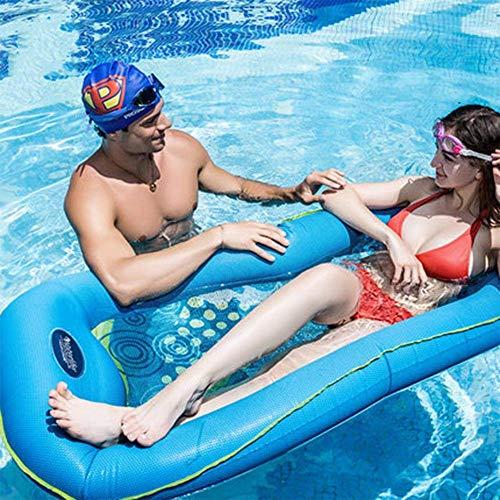 LQH Wasser Aufblasbare Schwimmbett-PVC große aufblasbare Schwimm Row-Wasser-Schwebe Hammock-Mesh Wasser Sofa, for Strand Schwimmbad Park Erwachsene Kinder-Blau-170 * 70cm