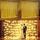 Glighone Luz de Cortina Guirnalda Decorativa Adornos Navidad 8 Modos LED con Mando a Distancia 6 * 3m 600 Bombillas Cadena de Luces Perfecto para Fiestas Jardín Exterior e Interior, Blanco Cálido