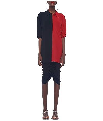 KAMALIKULTURE by Norma Kamali Shirred Skirt To The Knee (Black) Women