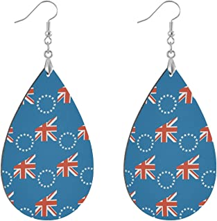 Cooköarna flagga trä tårdroppe örhängen dingla örhängen trä droppe örhängen för kvinnor flickor