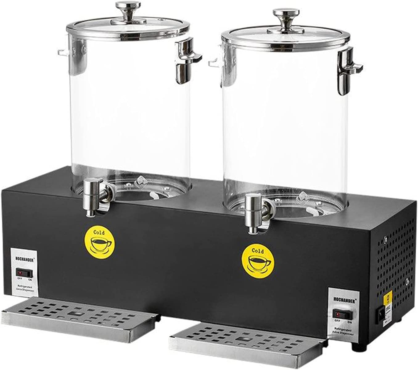 ALX-Dec Máquina De Bebidas De Buffet Acero Inoxidable Refrigeración Electrónica Comercial Dispensador De Jugo Temperatura Ajustable Doble Cabezal 20 litros Café Leche